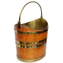 Dutch Mid-19th Century Oval Oak Peat Bucket, circa 1840