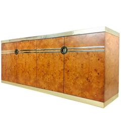Burl Wood and Brass Credenza by Pierre Cardin