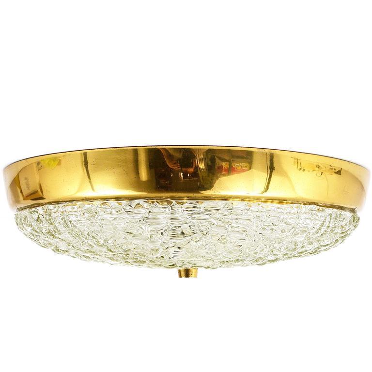 Round Kalmar Mid-Century Brass and Textured Glass Flush Mount, Austria, 1950s