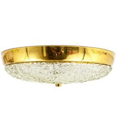 Round Kalmar Mid-Century Brass and Textured Glass Flush Mount, Austria, 1950s