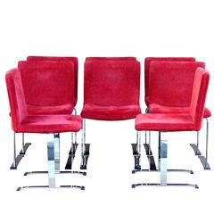 Mid-Century Modern Fine Quality Set of Eight Saporiti-Style Dining Chairs