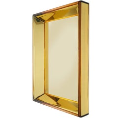 Magnificent Golden Yellow Glass Mirror by Roberto Rida