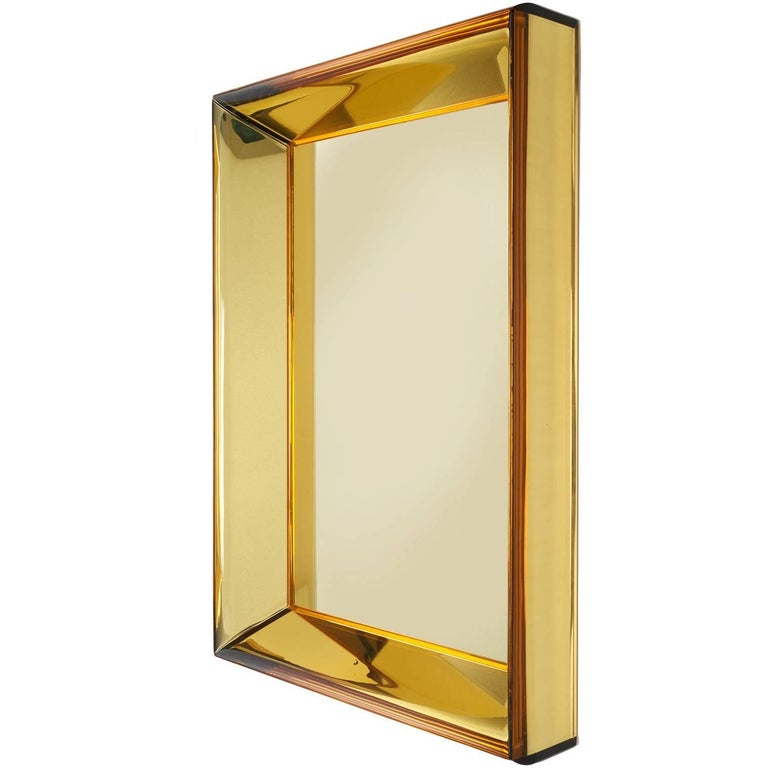 Magnificent Golden Yellow Glass Mirror by Roberto Rida For Sale
