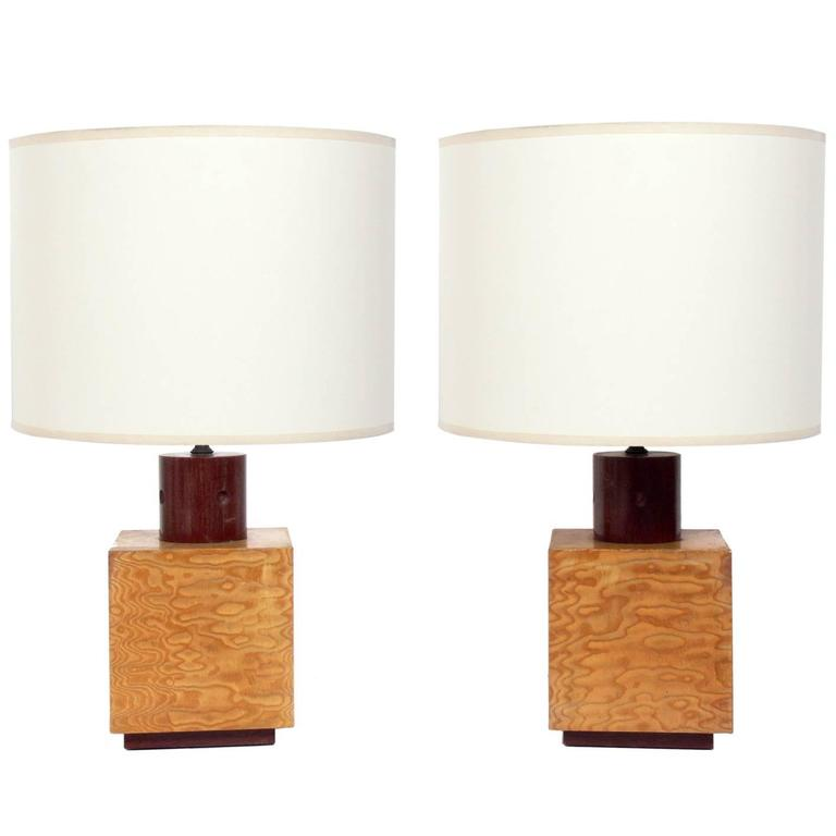 Pair of Burl Wood Cube Lamps by Andrew Szoeke