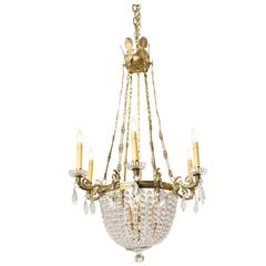 A French Empire 6-Light Crystal Beaded Chandelier