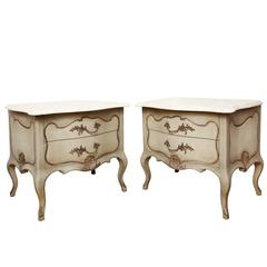 A Pair of Louis XV Style Silver Gilt and Painted Commodes