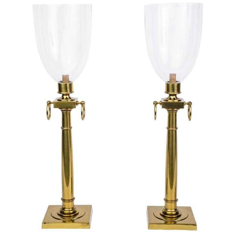 Pair of Mid-Century Modernist Hurricane Lamps Attributed to Tommi Parzinger