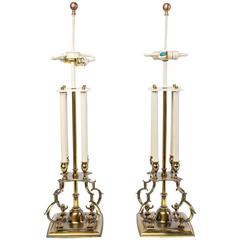 Pair of Mid-Century Modernist Stiffel Brass Candlestick Table Lamps