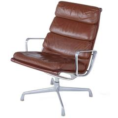 Eames Soft Pad Leather Swivel Lounge Chair, circa 1980s