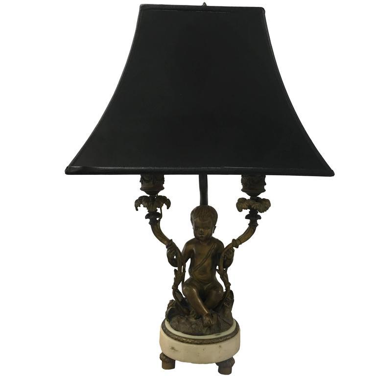 Rococo style bronze putti figurine dressing table lamp for for Dressing table lamp lighting