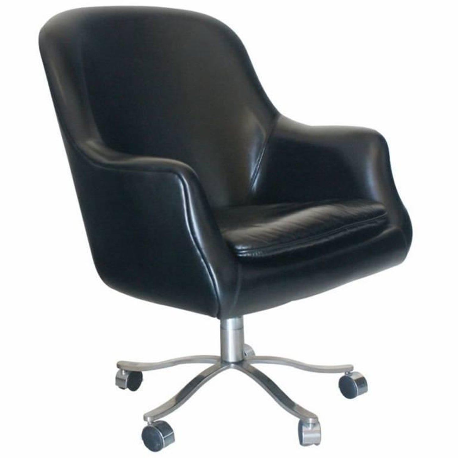 Nicos Zographos Black Leather Bucket Chair at 1stdibs