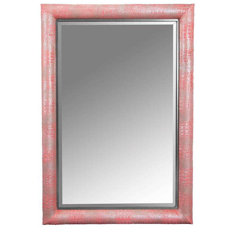 Croco Embossed Watermelon Hair-on hide Framed Mirror For Sale