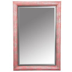 Croco Embossed Watermelon Hair-on hide Framed Mirror