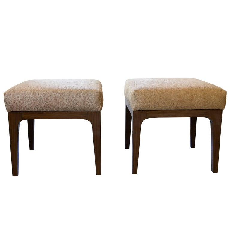 Pair of Mid-Century Modern Style Laser Cut Floral Pattern Cowhide Ottomans For Sale