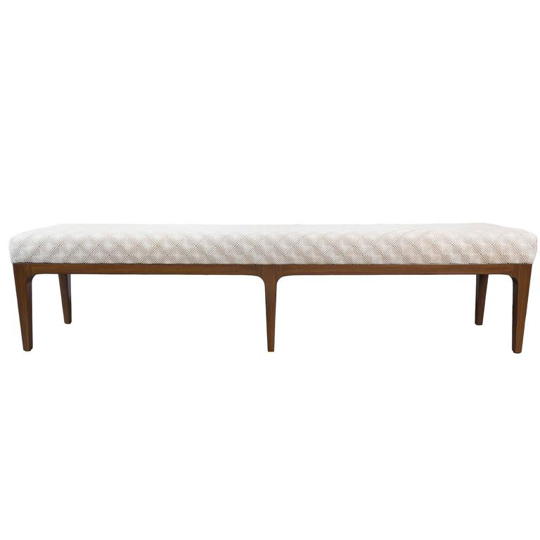 Raphael Bench Mid-Century Modern Diamond Laser Cut Cowhide Bench