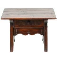 Small Spanish Colonial Table with Drawer, 19th Century