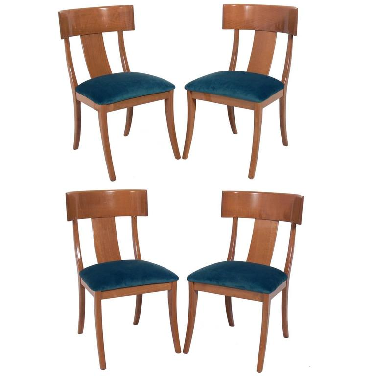 Set of Four Elegant Klismos Dining Chairs