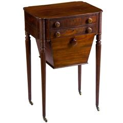 Classical Sheraton Mahogany Worktable Reeded Legs, Seymour or Circle, circa 1805