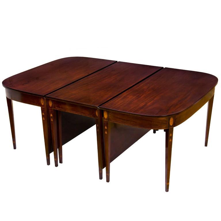 Banquet Dining Table: Grand Mahogany Three-Part Inlaid Banquet Table, Mid