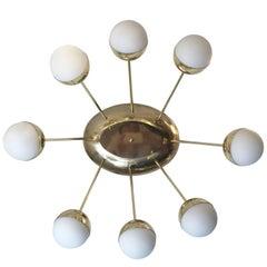 Eight-Globe Oval Flush Mount Chandelier