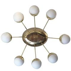 Eight-Globe Oval Flush Mount Chandelier