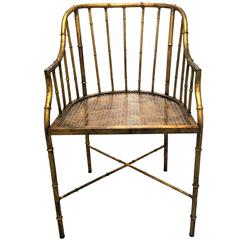 Burnished Gilt Metal Bamboo Armchair by La Barge