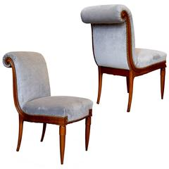 Exquisite Pair of Sinuous Chairs in Cherry by Armand-Albert Rateau