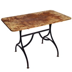 Late 19th Century Yellow Garden Table with Natural Patina on Iron Trestle Base