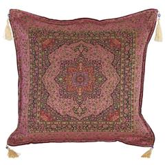 Pink Moroccan Pillow with Evil Eye Fringes