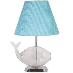 Glass Fish Table Lamp with Custom Blue Tweed Lampshade