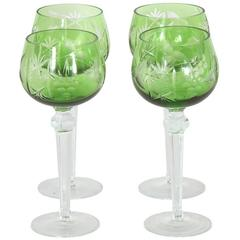 Set of Four Emerald Etched Glass Goblets
