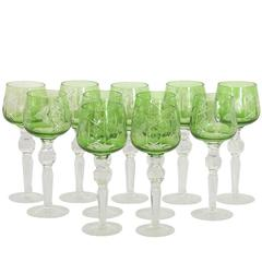 Set of 11 Emerald Etched Crystal Stemware