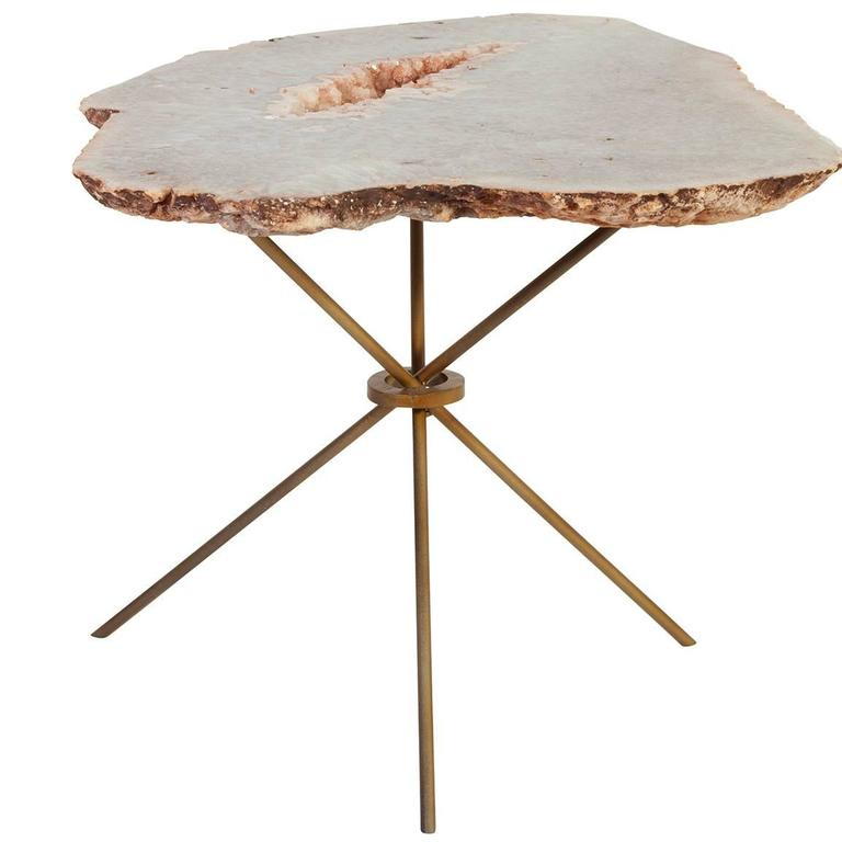 Rose quartz agate side table, 2015