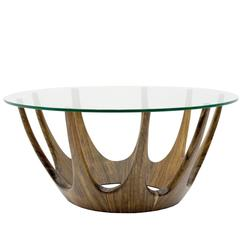 Mid-Century Modern Italian Ash Timber and Glass Round Crown Coffee Table