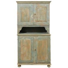 An 18th C. Swedish Late Gustavian Period Cupboard Cabinet w/ it's Original Paint