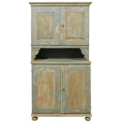 An 18th C. Swedish Late Gustavian Wood Cabinet with Original Green Yellow Paint