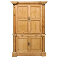Tall English Four-Door Vintage Cabinet with Adjustable Shelves, Pullout Drawers