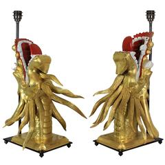 Pair of 19th Century Carved Chinese Dragon Lamps