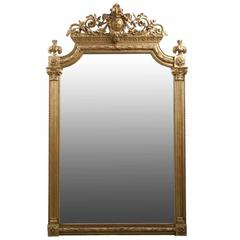 Neoclassical Style Giltwood Antique Pier Mirror with Corinthian Columns