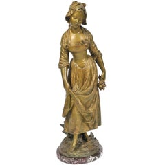 Moreau Bronze Sculpture of Young Girl