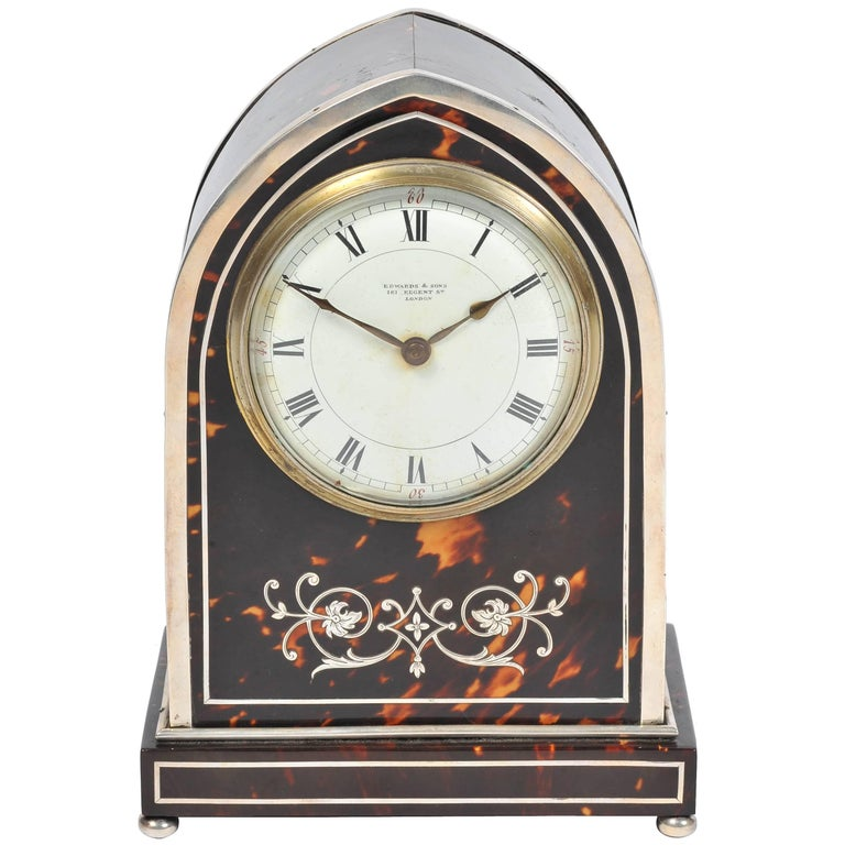 Silver and Tortoiseshell Mantel Clock For Sale