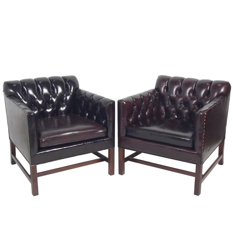 Pair of Tufted Cabernet Leather Lounge Chairs by Kittinger