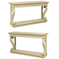 Single Hand-Carved and Painted Wood Brazilian Console