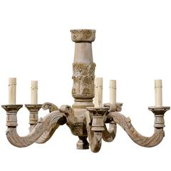 French Five-Light Carved and Painted Wooden Chandelier