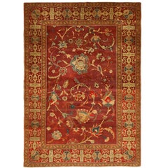 Deep Burgundy Antique Indian Agra Rug. Size: 4 ft 8 in x 6 ft 8 in