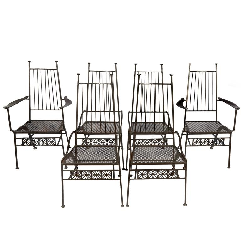 Rare Set Of Six Salterini Wrought Iron Chairs For
