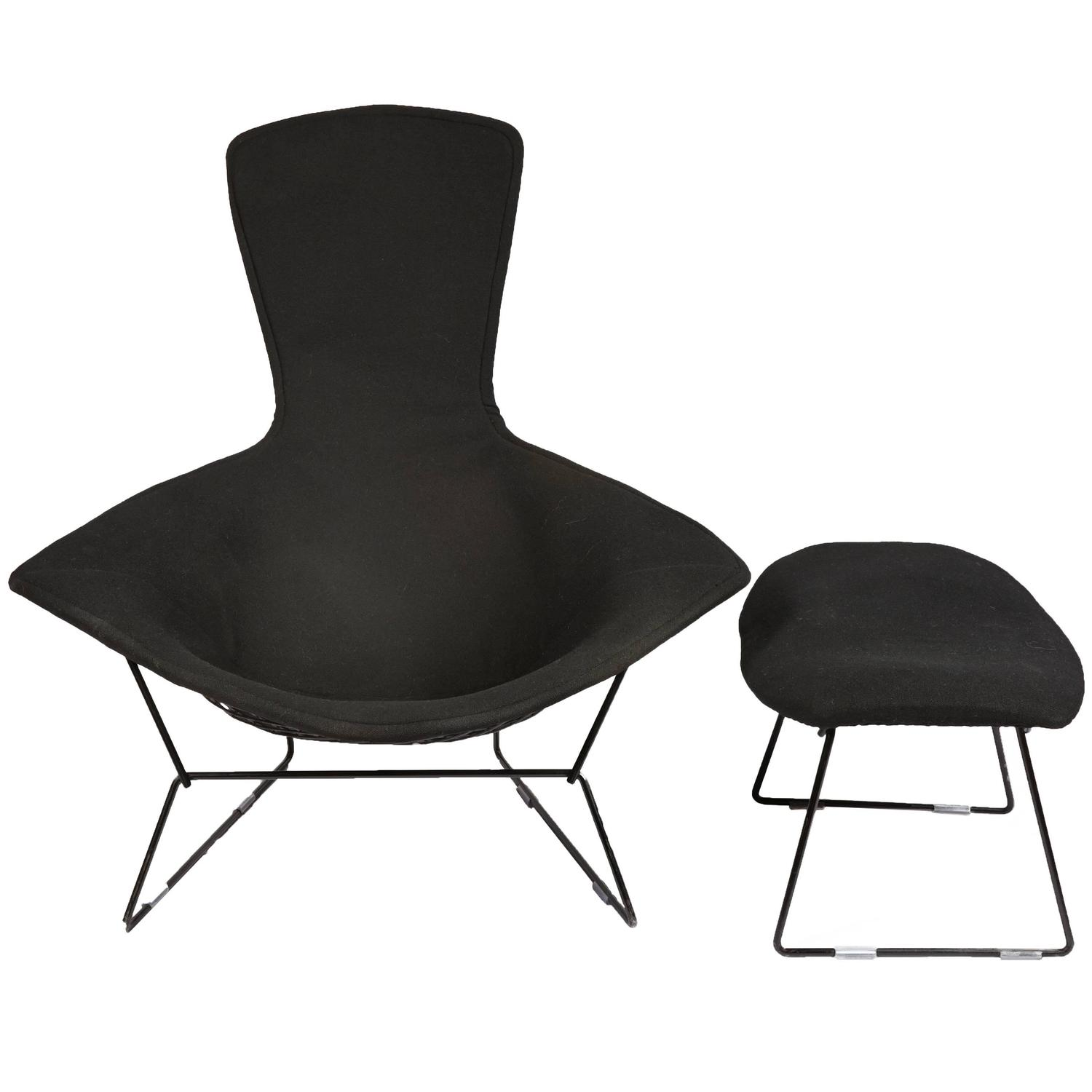 Vintage Bertoia Bird Chair and Ottoman with Full Cover in Classic