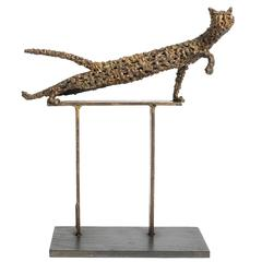 Bronze Sculpture of a Cat by Dorothy Robbins