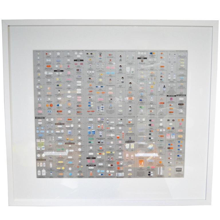 Pharmacy themed wallpaper by Damien Hirst. Wallpaper depicts pills, pill bottles and prescription names. Perfect vintage condition. Newly framed and matted in white with glass. Bronze and silver panels available. Priced individually. 