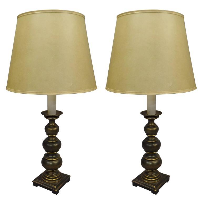 Pair of British MId-Century Modern Neoclassical Brass Ball Lamps